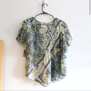 Maeve Anthropologie Green and White Patterned Top